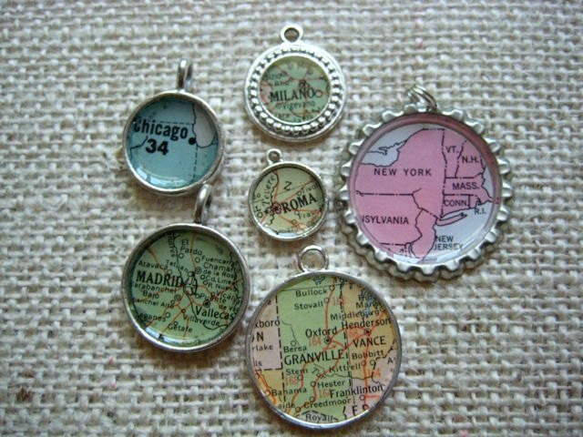 Got a bunch at Edina Art Fair.  Lcal is Lovely Necklace with Vintage Map and Pearl. $52.00, via Etsy.