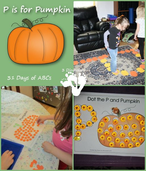 p is for pumpkin activities from 3 dinosaurs