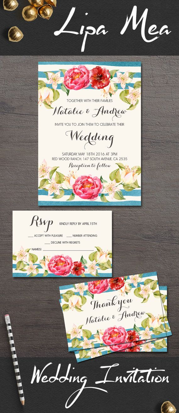 wedding cards with price in chennai%0A Nautical Wedding Invitation  Floral Wedding Invitation  Spring Summer Boho Wedding  Invitation  Modern Watercolor