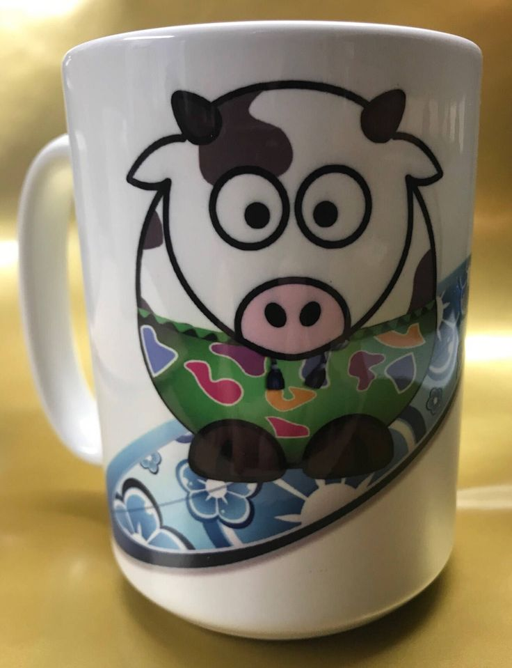 Excited to share the latest addition to my #etsy shop: Surfing cow coffee mug #housewares #cowmug