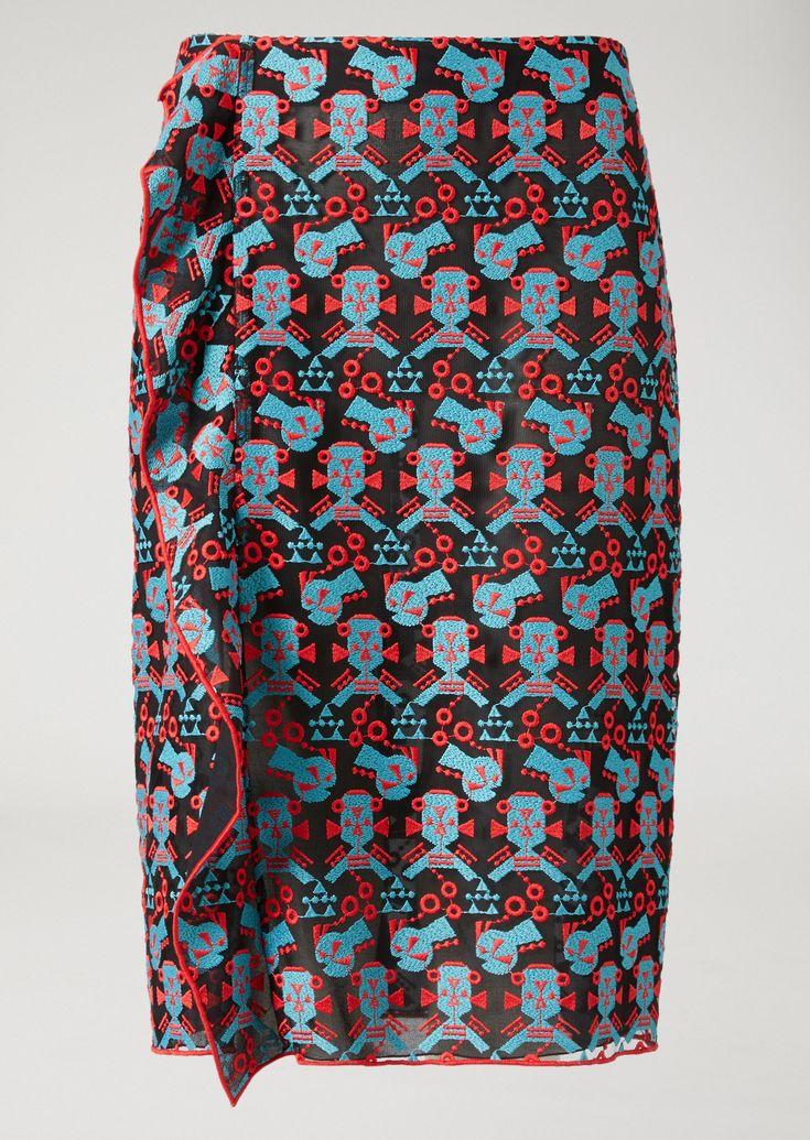 EMPORIO ARMANI Falda de tubo de encaje cyber Falda D r