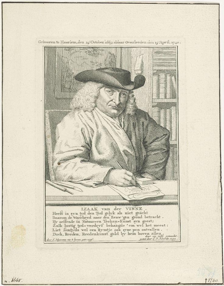Cornelis van Noorde | Portret van Isaac Vincentsz. van der Vinne, Cornelis van Noorde, Isaac Vincentsz. van der Vinne, 1754 | Portret van kunstenaar en boekverkoper Isaac Vincentsz. van der Vinne in zijn werkkamer, terwijl hij tekent.