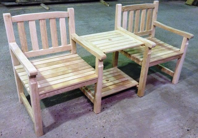 Garden seat made from reclaimed oak timber, reuse and recycle