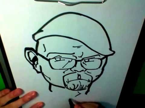 Drawing: JAMIE HYNEMAN (MythBusters) CARICATURE! [2:30min]