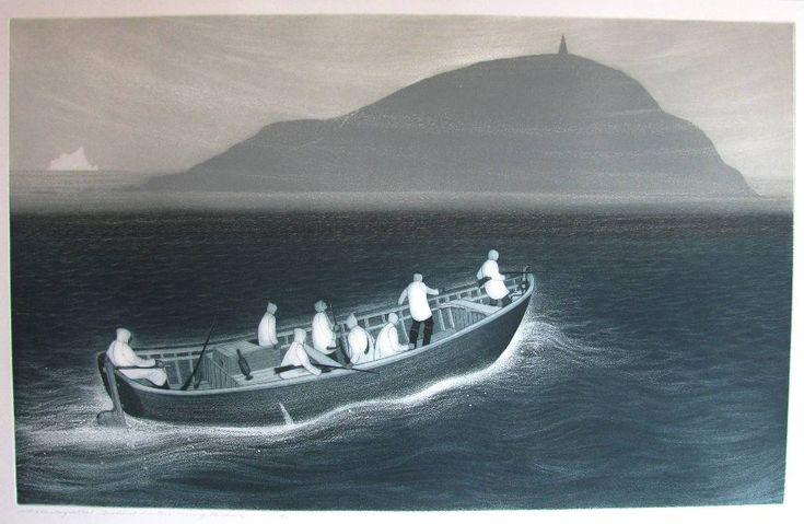 WESLEYVILLE SEABIRD HUNTERS CROSSING THE REACH by David Blackwood