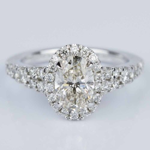 Petite Split Shank Oval Halo Diamond Engagement Ring