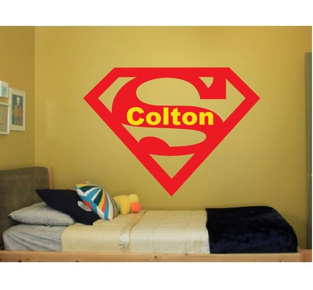 Superman Name Wall Quote Sign Vinyl Decal Sticker Bat Man batman dark knight spiderman avengers marvel comics super disney robin large big by ColtonsPlace on Etsy https://www.etsy.com/listing/210966332/superman-name-wall-quote-sign-vinyl
