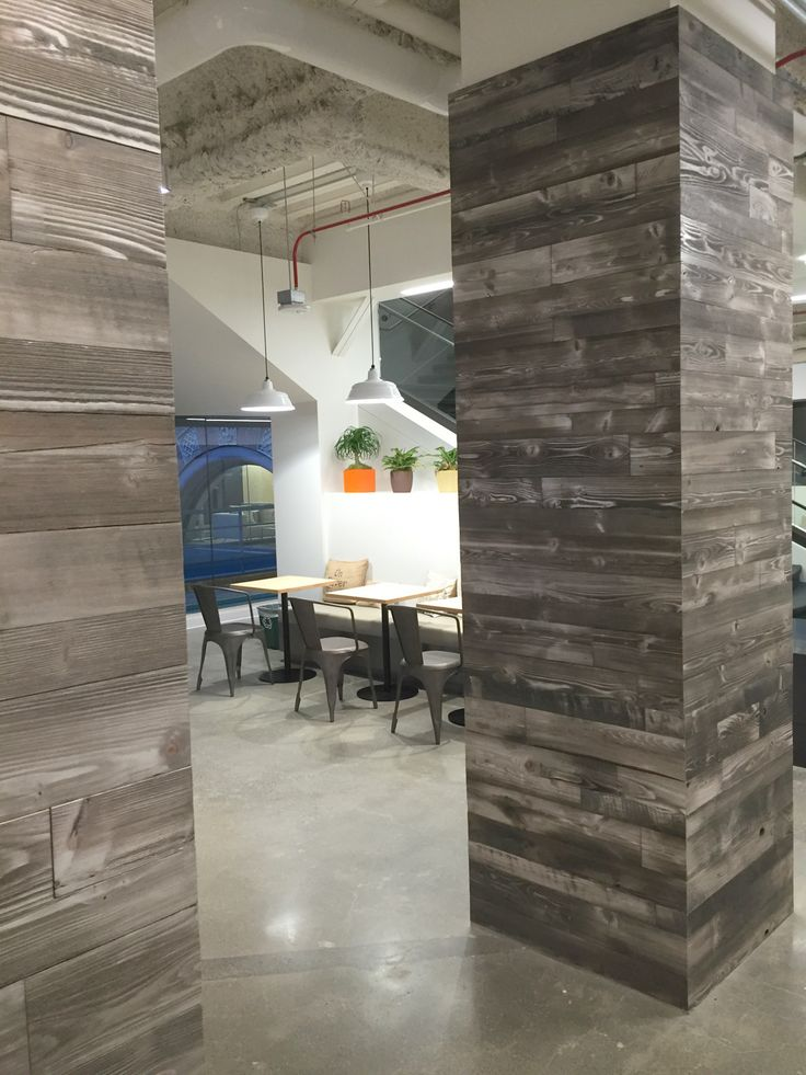 Great column wrap at Google in Mountain View, CA. Featured here is our Stonewash Prefab wall panels.
