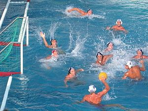 Greece (white) vs. Hungary (blue) play a water polo match at the World Junior Championships 2004 in Naples, Italy