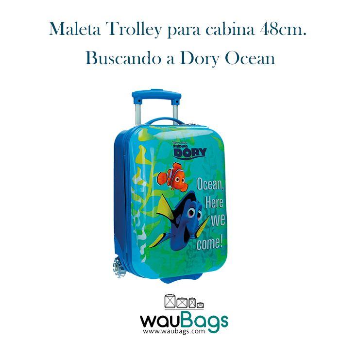 """Convierte sus viajes en una auténtica aventura con la Maleta Trolley """"Buscando a Dory Ocean"""" de Disney Pixar, por tan solo 74,50€ con gastos de envío gratis!!  Además, con ella no tendréis que facturar, ya que sus medidas son las homologadas para poderla llevar en la cabina del avión. #buscandoadory #findingdory #disney #pixar #maleta #trolley #cabina #infantil"""