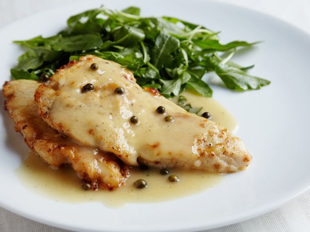 Ina's Breaded Chicken Breast Piccata with Lemon, Butter, and White Wine Sauce and Parsley