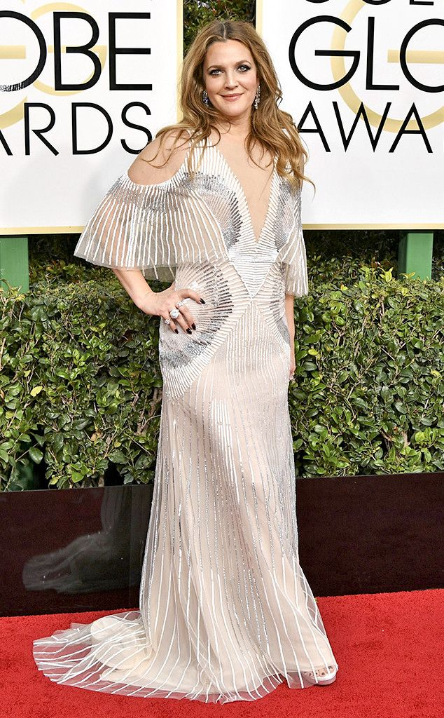 Drew Barrymore from 2017 Golden Globes Red Carpet Arrivals In Monique Lhuillier