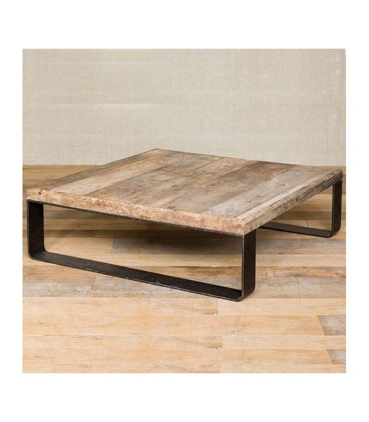 métal et bois table carrée