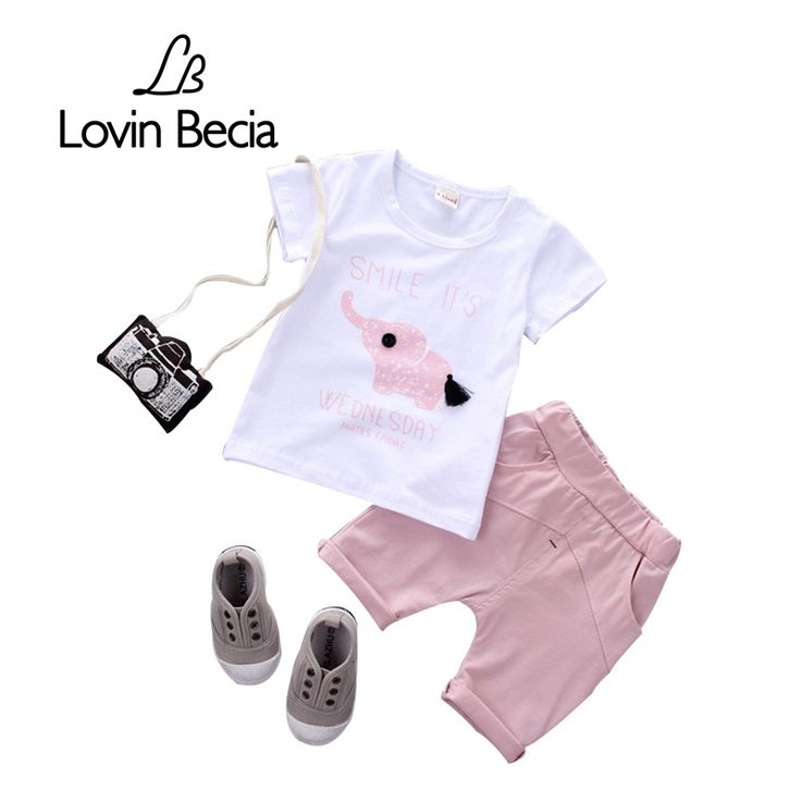 13.17$  Watch now - http://alir7i.shopchina.info/1/go.php?t=32810707244 - 2pcs / sets T-shirt pants 18M-4T Kids boys Elephant clothes clothing girls Baby Summer children Casual cotton shorts sport suits  #aliexpress