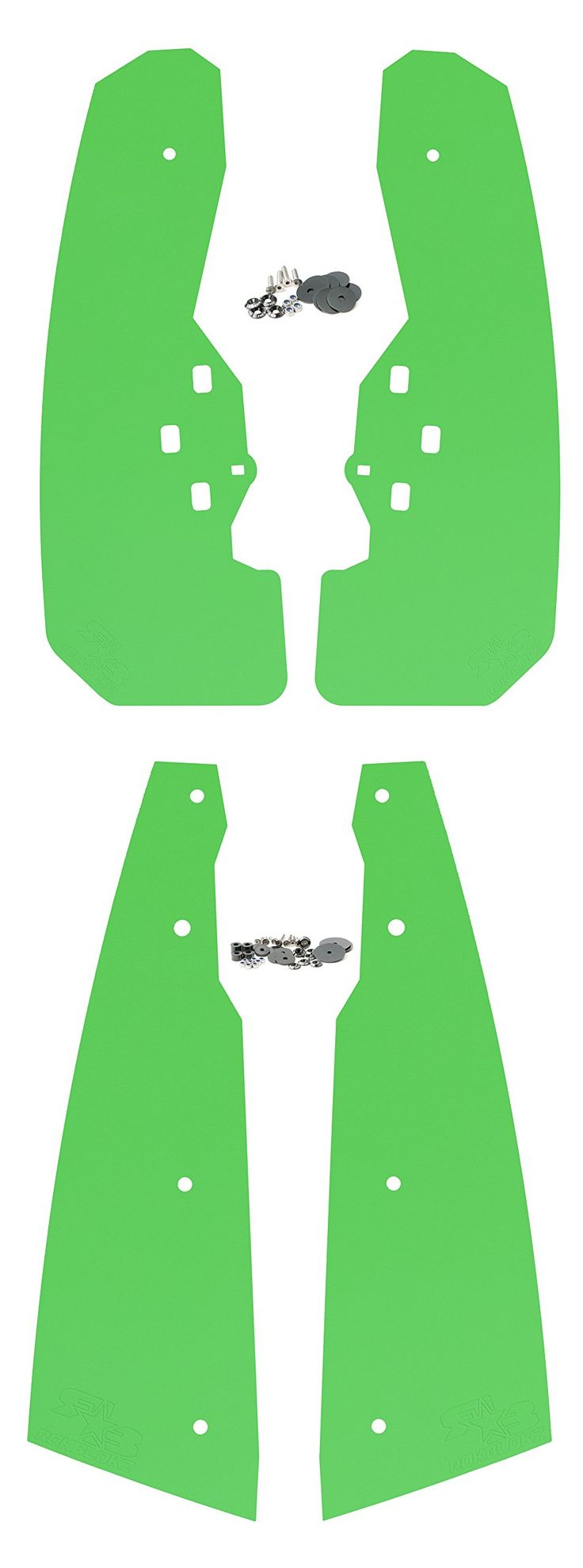 Polaris RZR XP 1000 Mud Flaps by RokBlokz - FULL SET of 4 - Front AND Rear - RZR XP 4 1000 Fender Extensions - Rigid Design Better than OEM Deflectors - Highly Rated UTV Mud Guards (Lime Green)