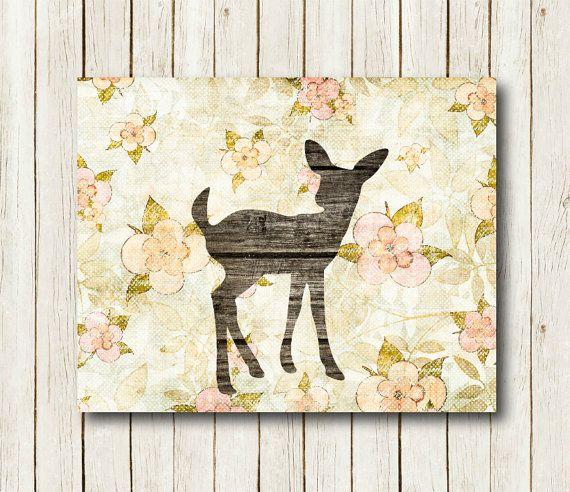 Printable art Deer print printable Fawn print Deer nursery decor Shabby chic…