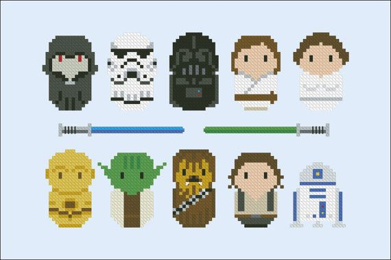 Starwars parody Cross stitch PDF pattern by cloudsfactory on Etsy