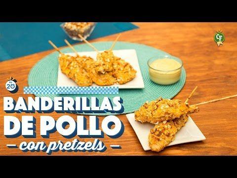 ¿Cómo preparar Banderillas de pollo con Pretzels? - Cocina Fresca