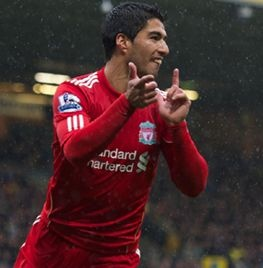 Three is the magic number! Luis Suarez celebrates in style