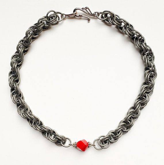 Red Crystal Double Spiral Pewter Necklace by VexedUpBoutique