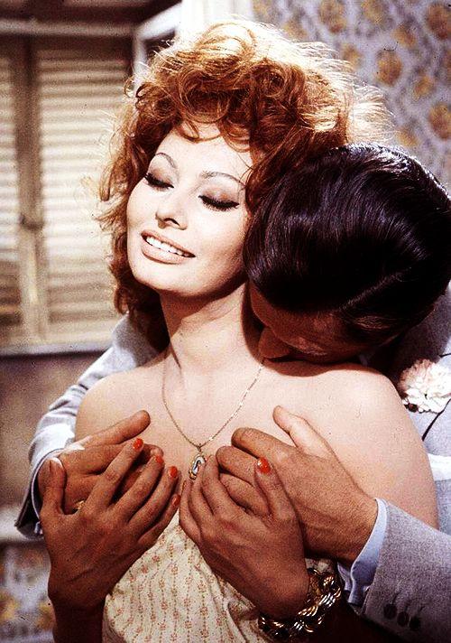 Sophia Loren and Marcello Mastroianni in Matrimonio allitaliana, 1964.