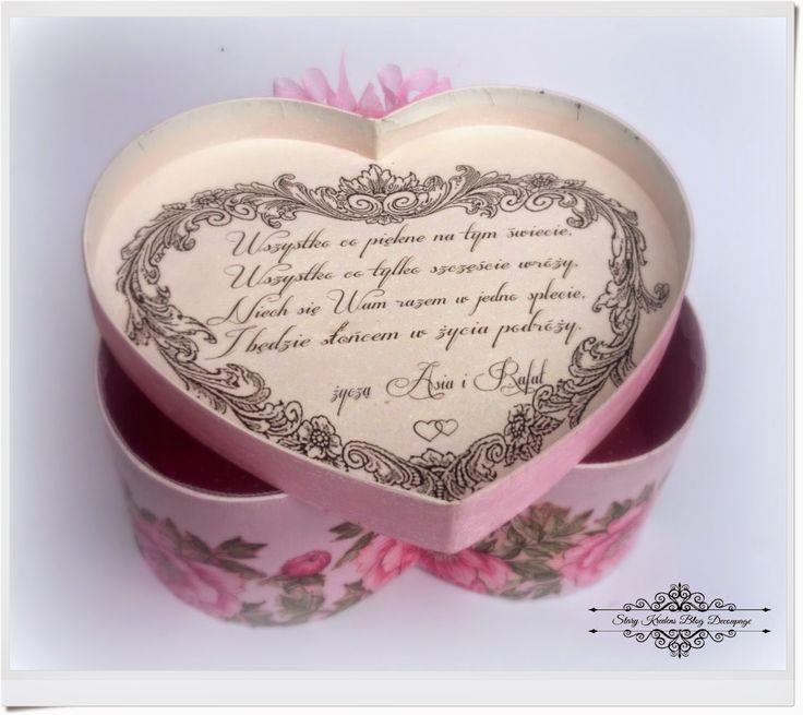 Stary Kredens - Blog - Decoupage: Serce w pastelowym różu , bieli i różowe piwonie - Szczęścia Zdrowia Młodej Parze :) - Decoupage