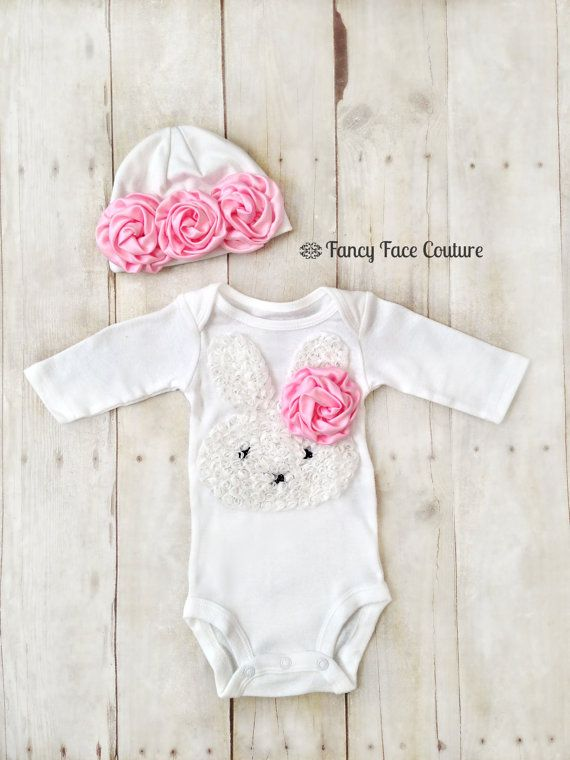 Baby Girl Newborn Take Home Outfit Bunny Pink Rosettes Baby Hat Little girls Boutique clothes baby girl newborn Sizes Preemie - 24 Months on Etsy, $34.95