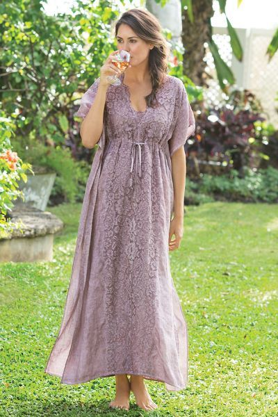So pretty, our Lacy Caftan takes glamour to new heights. A unique garment-dyeing process creates intriguing coloration.