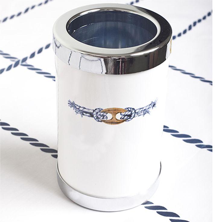 Glacette termico in melamina Maglia marina Ø13 xh 22 cm Colore: Bianco | Cartaffini | Stilcasa.Net: secchielli ghiaccio e champagne