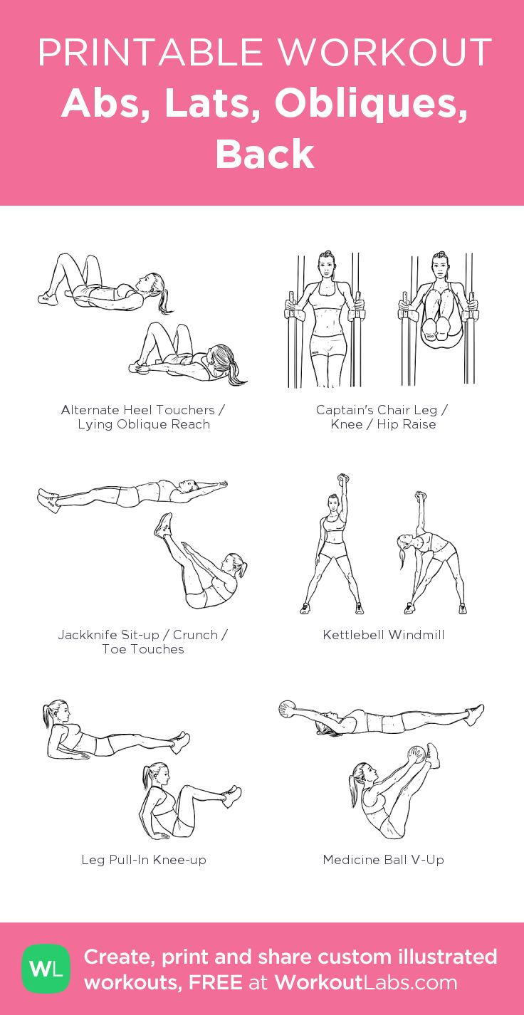 Abs, Lats, Obliques, Back:my visual workout created at WorkoutLabs.com • Click through to customize and download as a FREE PDF! #customworkout