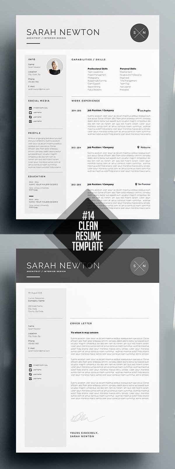 Resume Cv Template Cleanresume Cvresume Downloadresume Minimalresume Minimalist Photoshopresume Resumetemplates Exemple Cv Resume Document