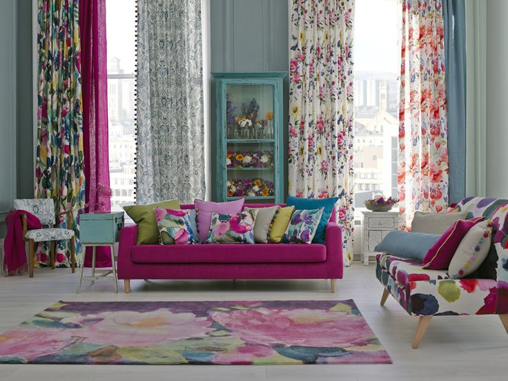 Colorful living room | Bluebellgray's Somerset Collection pillows | Adore Home magazine