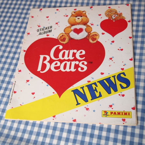 """Care bears news sticker album vintage 1987. I used to collect stickers & remember that our local paper """"The News"""", would have special offers for free albums & stickers."""