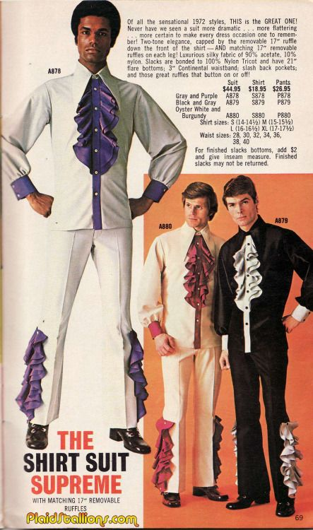 Gentlemen, a suit like this with two-tone elegance is certain to make every dress occasion one to remember. (1972)