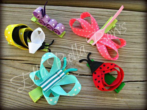 Lovebug Ribbon Sculpture Hair Clip Bug Hair Bow by EllaBellaBowsWI