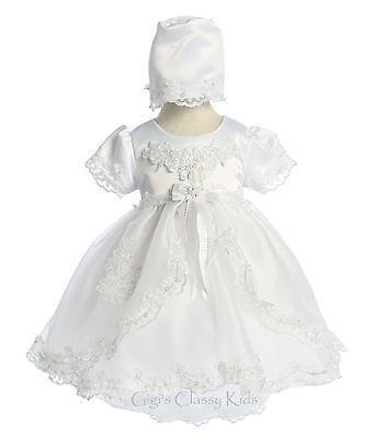 New Baby Girls White Christening Baptism Dedication Dress Gown w/ Bonnet 021