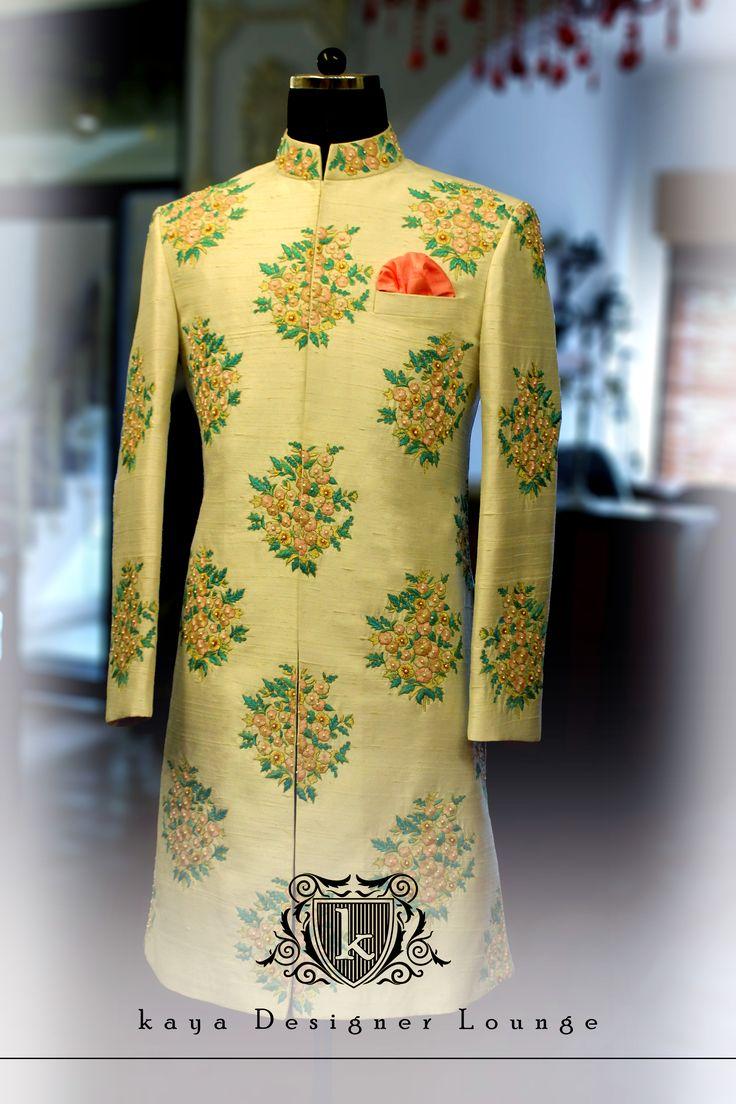 Sherwani Resham Work Hand Work Embroidery Traditional Wear Wedding Collection kaya Designer Lounge kayadesignerlounge kdllifestyle