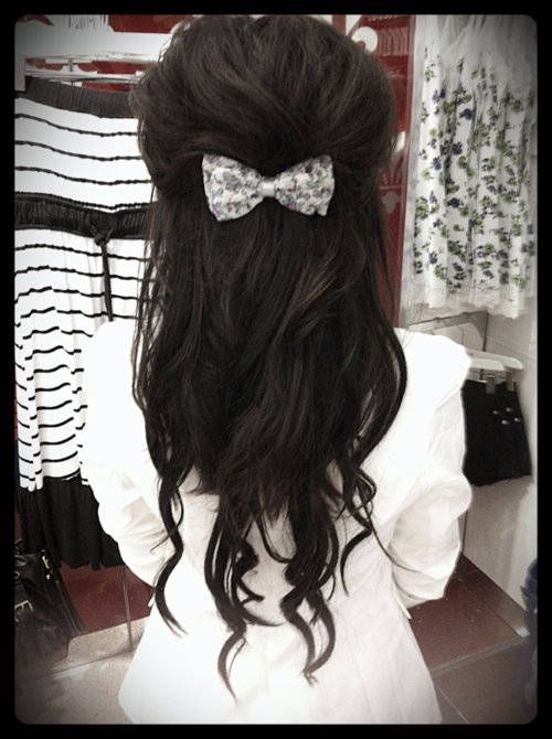 Bow Half Updo Hairstyle. With rainbow bow. Flower girl.