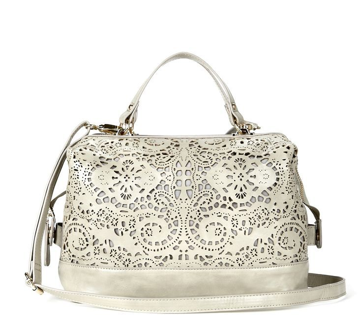 Beautiful detailed white handbag.