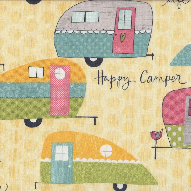 Caravans on Beige Camper Quilting Fabric - Find a Fabric. Available to purchase in Fat Quarters, Half Metre, 3/4 Metre, 1 Metre and so on.