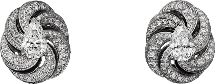 CARTIER. Earrings - white gold, one 1.07-carat F VS1 and one 1.01-carat E VVS2 pear-shaped diamonds, black lacquer, brilliant-cut diamonds. #Cartier #RésonancesDeCartier #HighJewellery #HauteJoaillerie #FineJewelry #Diamond