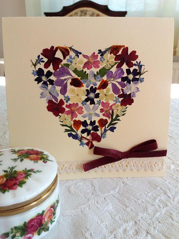 Romantic Valentine Heart card. Flowered heart shaped card.