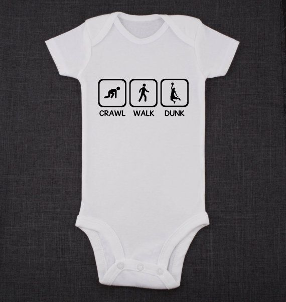 Crawl Walk Dunk Basketball Baby Bodysuit or Baby T-Shirt Cute Baby Clothes on Etsy, $12.95