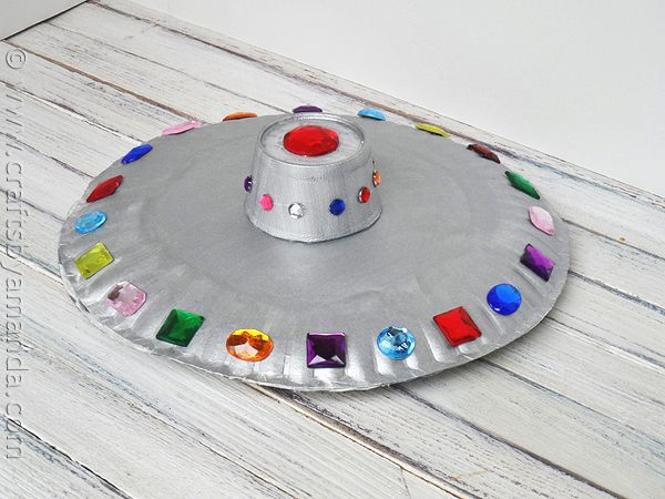 U is for UFO - Paper Plate Flying Saucer UFO with  Paper Plates, Foam Cup and Acrylic Jewels.