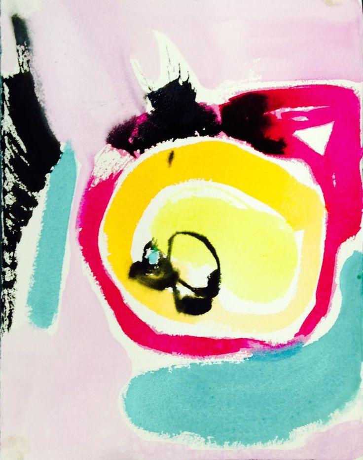 """Chromatic Snippets"" by Bianka Guna Art Watercolour On Paper   22""x22"""