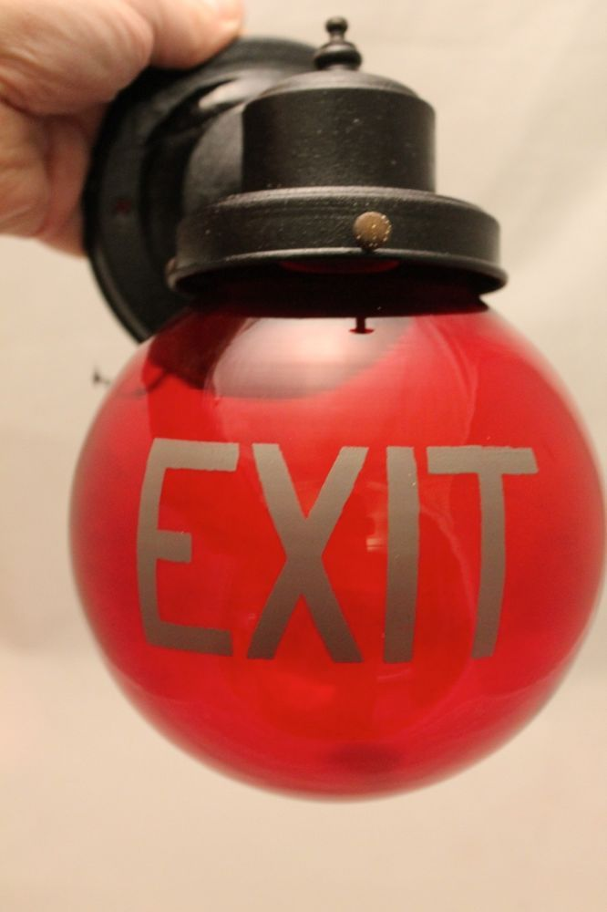Antique ART DECO Industrial Theatre EXIT SIGN Ruby Red Glass Globe LIGHT LAMP