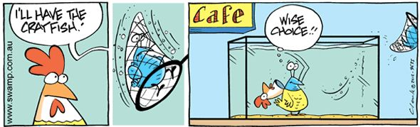 Bob saves himself from the Swamp cafe cooking pot for another lunch time. #swamp #crayfish #cartoons #funnycomics
