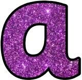 Free printable purple glitter alphabet instant display for Display board lettering