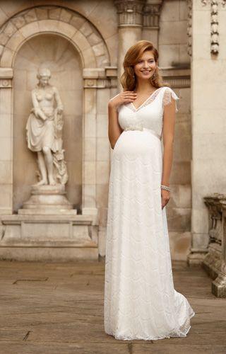 Unser elegantes, bodenlanges Umstandsabendkleid mit Spitze ist einfach magisch.