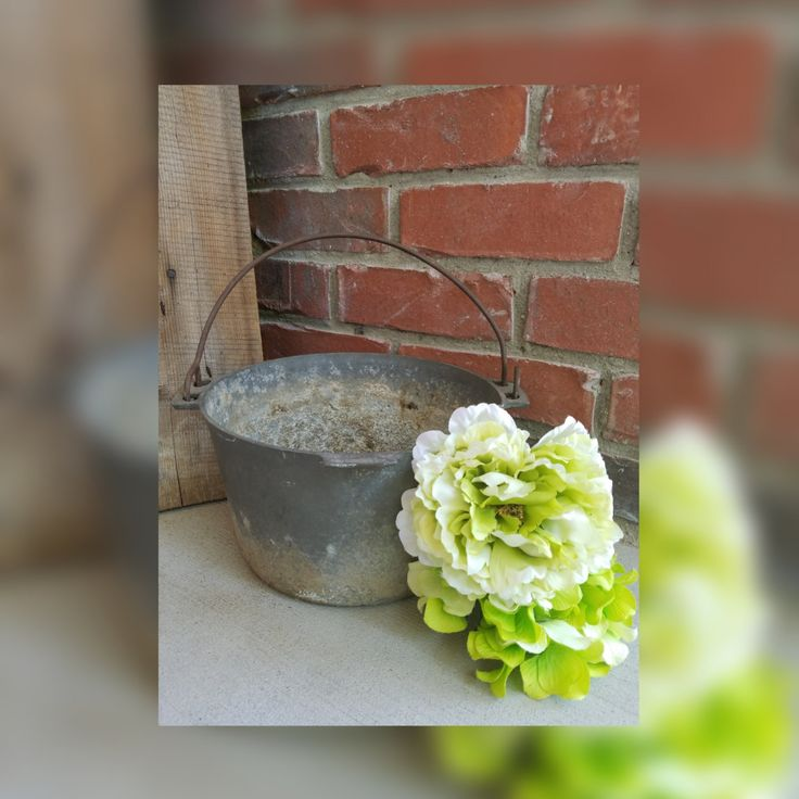 Vintage Rustic Metal Pot with Handle. Vintage cookware, rustic cookware, metal…